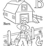 Barn, Boy Work At Barn Coloring Page: Boy Work at Barn Coloring Page