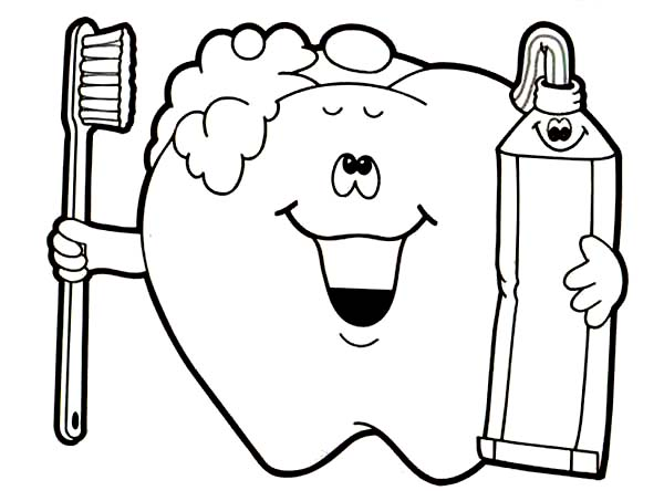 Dental Health, : Brush Your Teeth for Your Dental Health Coloring Page