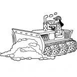 Digger, Bulldozer Pulling Dirt In Digger Coloring Page: Bulldozer Pulling Dirt in Digger Coloring Page