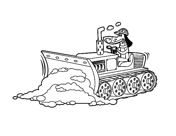 Bulldozer Pulling Dirt In Digger Coloring Page Color Luna