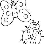 Lady Bug, Butterfly And Lady Bug Coloring Page: Butterfly and Lady Bug Coloring Page