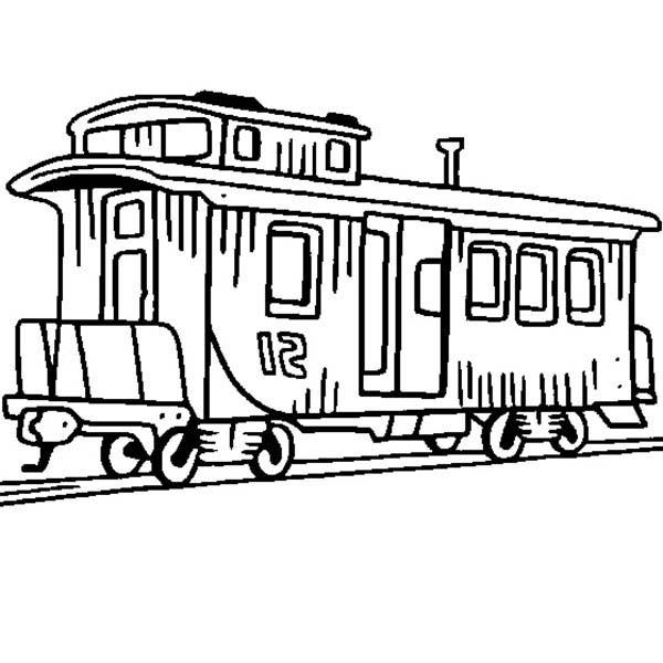Railroad, : Caboose Train on Railroad Coloring Page