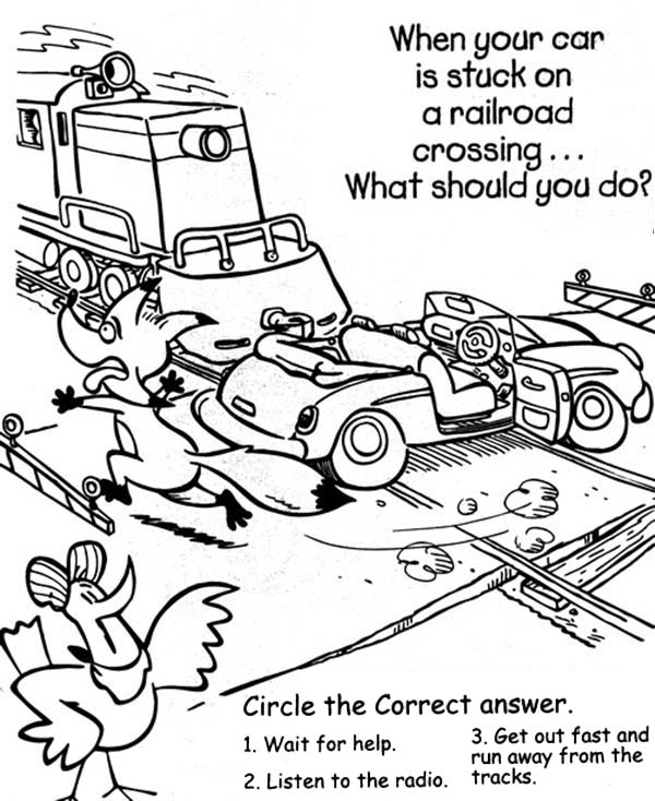 Railroad, : Car Stuck on a Railroad Coloring Page