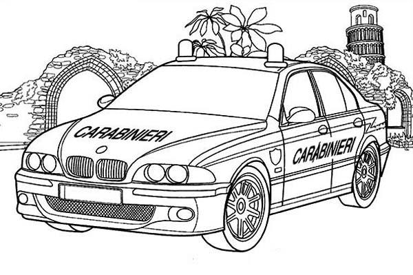 Police Car, : Carabinieri Police Car Coloring Page