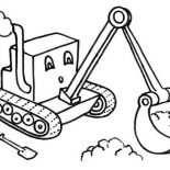 Digger, Cartoon Of Digger Tractor Coloring Page: Cartoon of Digger Tractor Coloring Page