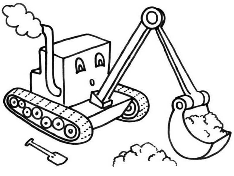 Digger, : Cartoon of Digger Tractor Coloring Page