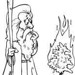 Moses, Cartoon Of Moses Meet God In Form Of Burning Bush Coloring Page: Cartoon of Moses Meet God in Form of Burning Bush Coloring Page