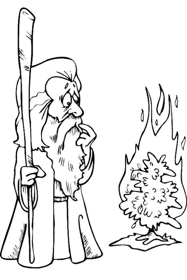Moses, : Cartoon of Moses Meet God in Form of Burning Bush Coloring Page