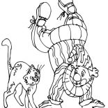 Clown, Cat With Clown Who Stand With Two Hand Coloring Page: Cat with Clown Who Stand with Two Hand Coloring Page