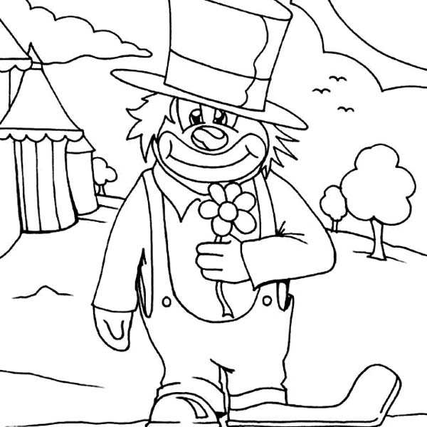 Clown, : Circus Clown Coloring Page