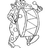Clown, Clown Beating The Drum Coloring Page: Clown Beating the Drum Coloring Page