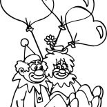 Clown, Clown Couple Had Heart Shaped Balloon Coloring Page: Clown Couple Had Heart Shaped Balloon Coloring Page
