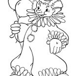 Clown, Clown Holding Two Beautiful Balloon Coloring Page: Clown Holding Two Beautiful Balloon Coloring Page