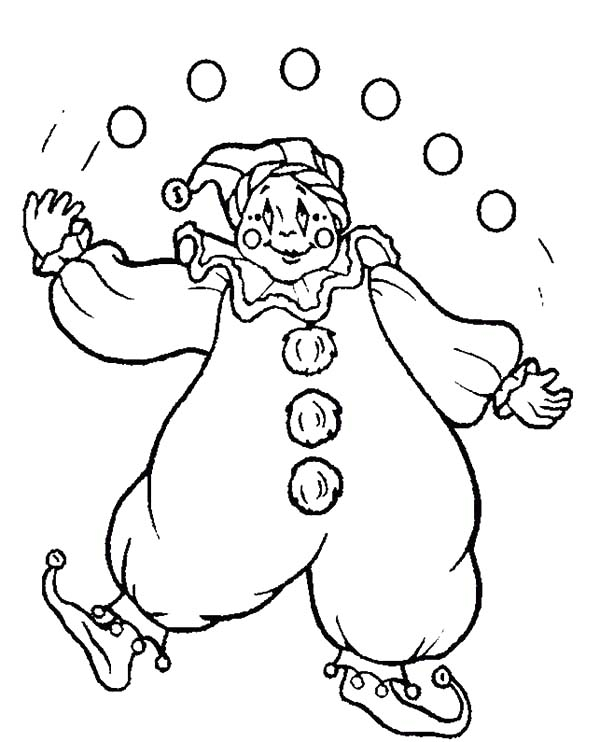 Clown, : Clown Juggling with Five Ball Coloring Page