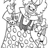 Clown, Clown Playing With Animal Circus Coloring Page: Clown Playing with Animal Circus Coloring Page