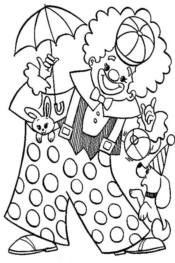 Clown, : Clown Playing with Animal Circus Coloring Page