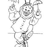 Clown, Clown Riding A Unicycle Coloring Page: Clown Riding a Unicycle Coloring Page