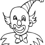 Clown, Clown Wearing Pointy Hat Coloring Page: Clown Wearing Pointy Hat Coloring Page