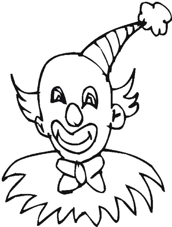 Clown, : Clown Wearing Pointy Hat Coloring Page