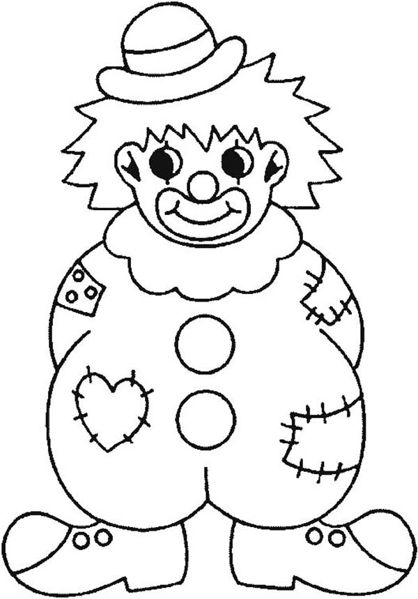 Clown, : Clown Wearing Raggery Clothes Coloring Page