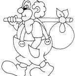 Clown, Clown Is Going For Adventure Coloring Page: Clown is Going for Adventure Coloring Page