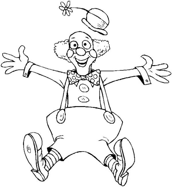Clown, : Clown is So Surprise Coloring Page