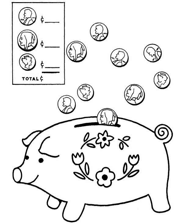 Piggy Bank, : Coin Going in Piggy Bank Coloring Page