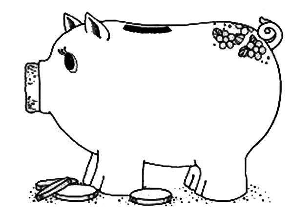 Piggy Bank, : Coin and Piggy Bank Coloring Page