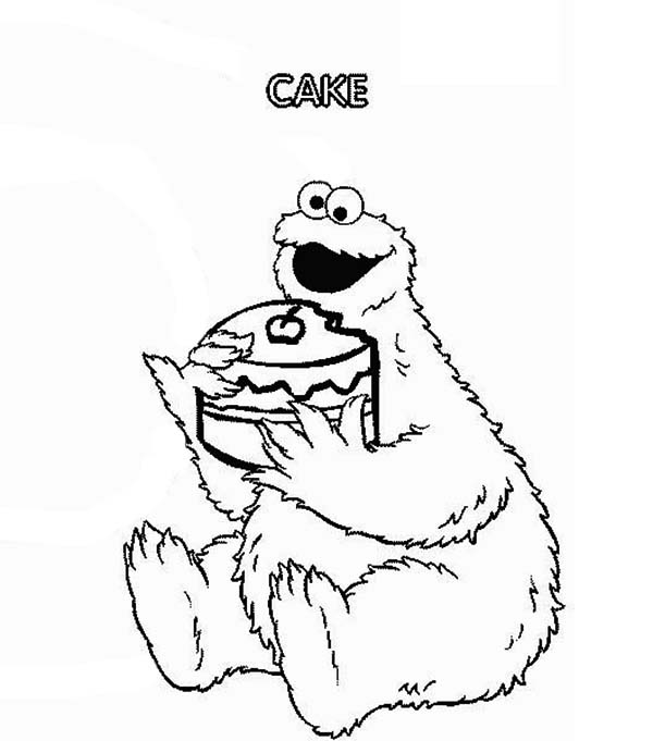Sesame Street, : Cookie Eat Cake in Sesame Street Show Coloring Page