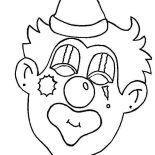 Clown, Creepy Clown Head Coloring Page: Creepy Clown Head Coloring Page