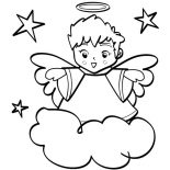 Angels, Cute Angels Boy Wiht Halo Coloring Page: Cute Angels Boy wiht Halo Coloring Page
