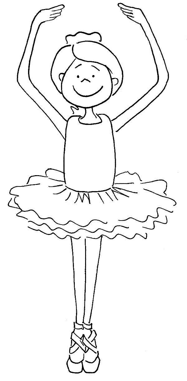 Ballerina, : Cute Ballerina Girl Coloring Page
