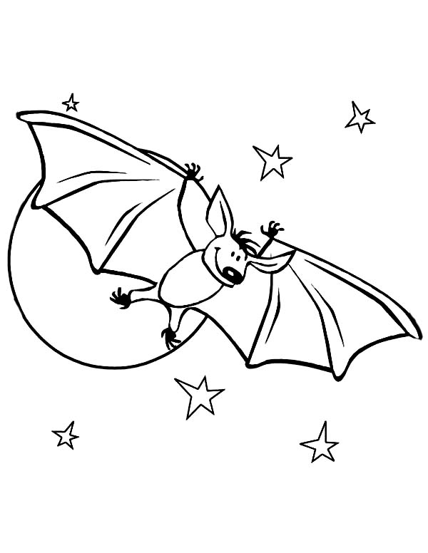 Bats, : Cute Bats in Starry Night Coloring Page