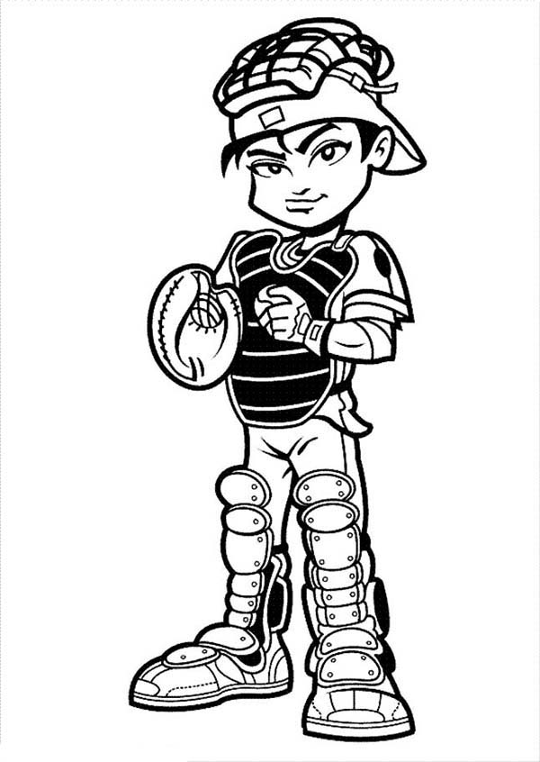 MLB, : Cute Catcher in MLB Coloring Page