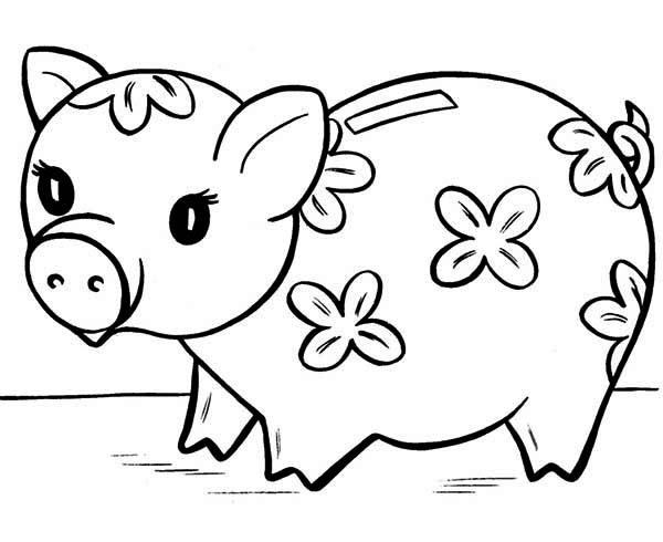 Piggy Bank, : Cute Piggy Bank Coloring Page