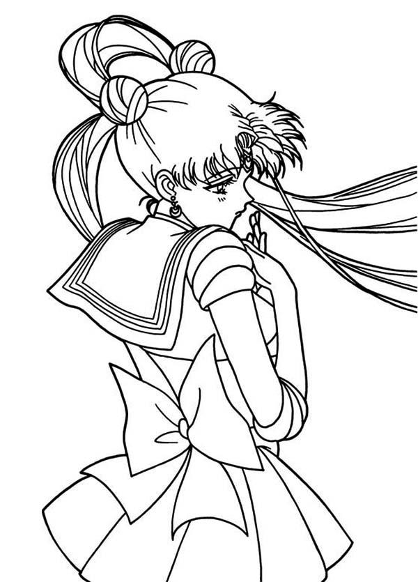 Cute Tsukino Usagi Sailor Moon Coloring Page Color Luna