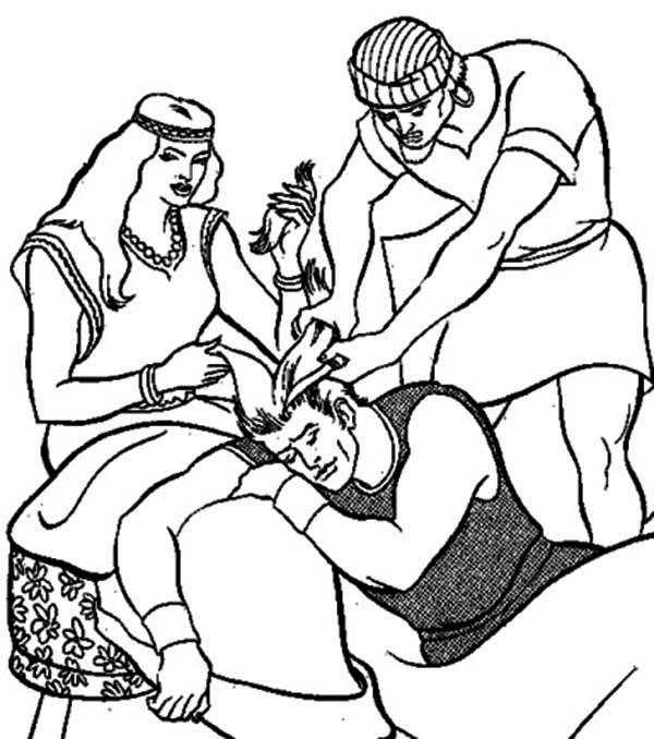 Samson, : Cutting Samson Hair Coloring Page