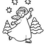 Angels, Dancing Angels With Stars And Cristmas Tree Coloring Page: Dancing Angels with Stars and Cristmas Tree Coloring Page