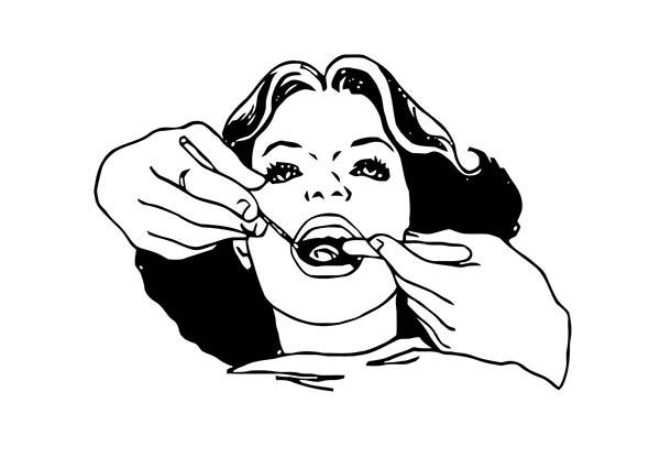 Dental Health, : Dental Examination for Dental Health Coloring Page