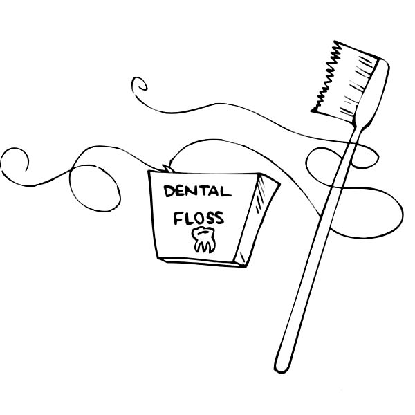 Dental Health, : Dental Flosh and Tooth Brush for Dental Health Coloring Page