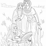 Moses, Depiction Of The Finding Of Baby Moses Coloring Page: Depiction of the Finding of Baby Moses Coloring Page
