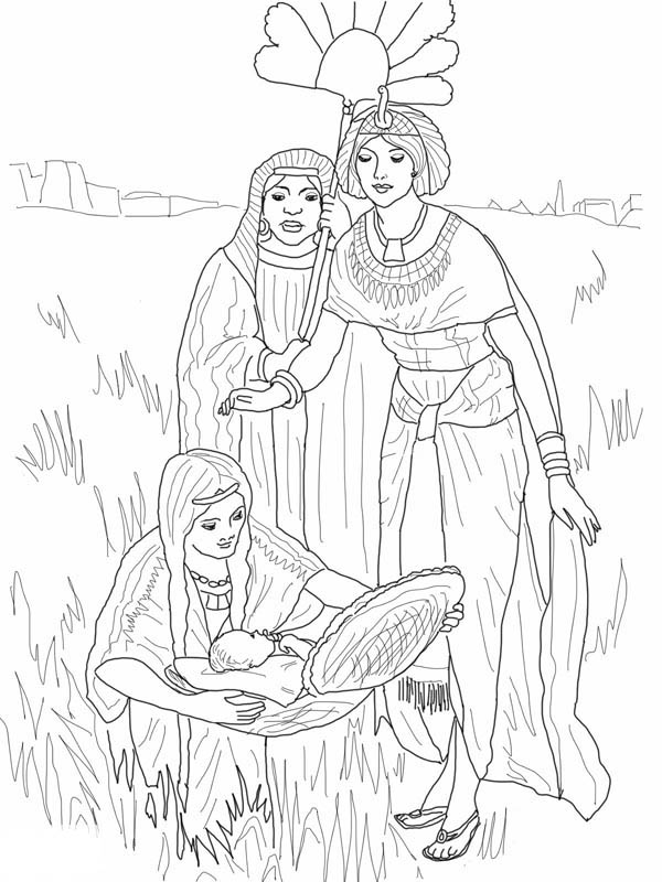 Moses, : Depiction of the Finding of Baby Moses Coloring Page