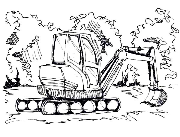 Digger, : Digger Digging Ground Coloring Page