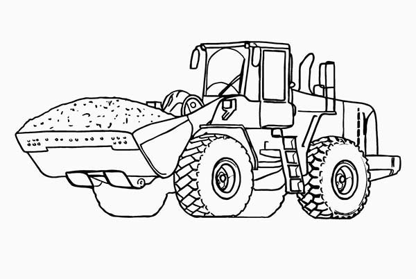 Digger, : Dirt Tractor in Digger Coloring Page