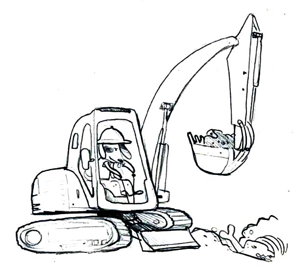 Digger, : Dog Operating a Digger Coloring Page