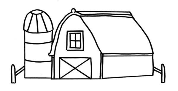 Barn, : Drawing Barn Coloring Page