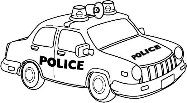 Police Car, : Drawing of Police Car Coloring Page