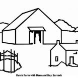 Barn, Dutch Farm With Barn And Hay Barrack Coloring Page: Dutch Farm with Barn and Hay Barrack Coloring Page