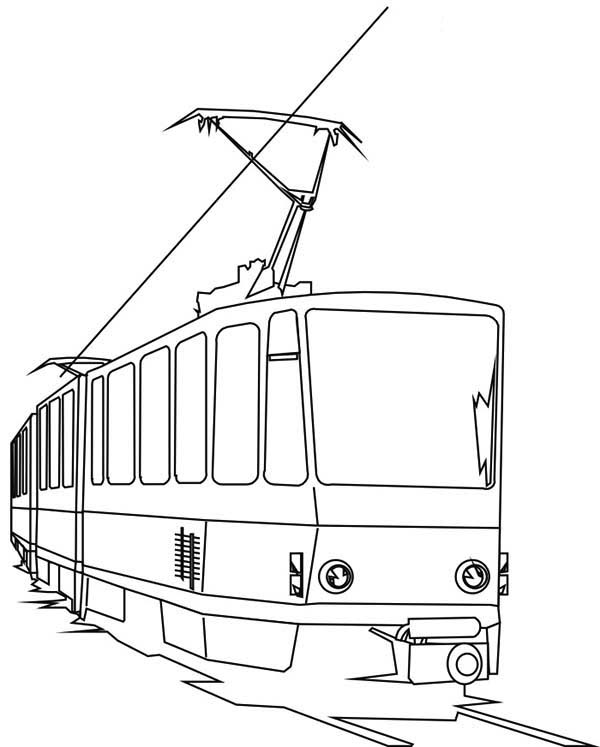 Trains, : Electric Train Coloring Page