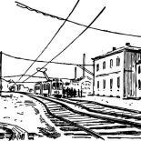 Railroad, Electric Train Railroad Coloring Page: Electric Train Railroad Coloring Page
